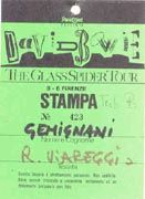 Bowie Glass Spider Firenze 9 giugno 1987 pass