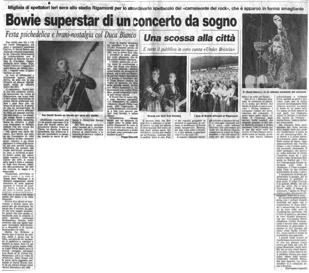 David Bowie Earthling Tour Brescia luglio 1997 articolo