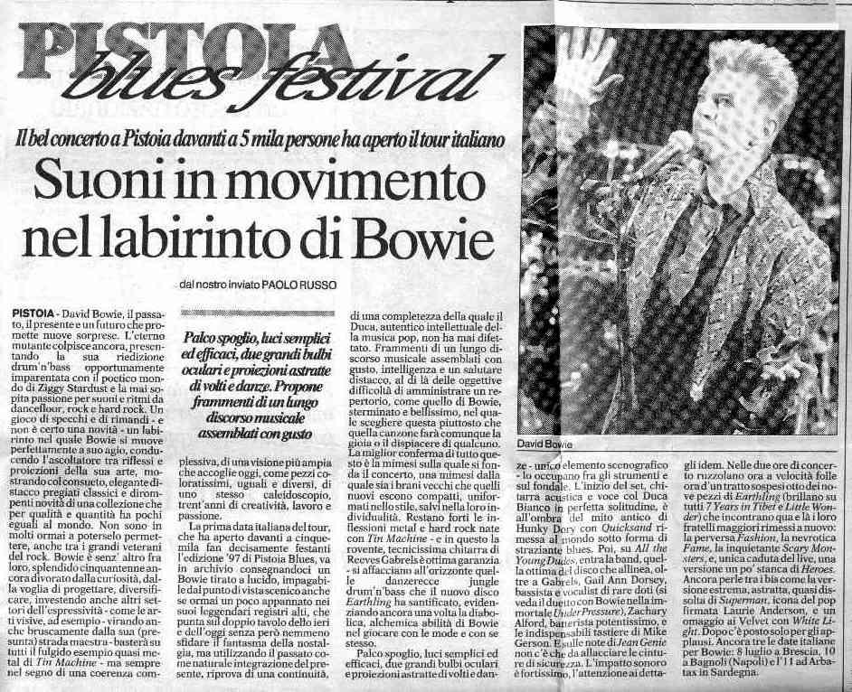 David Bowie Earthling Tour Pistoia 2 Luglio 1997 Articolo 1