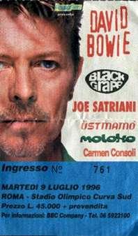 Bowie Outside Tour Roma 9 luglio 1996 biglietto