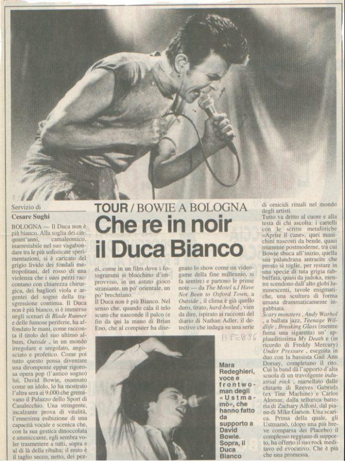 Bowie Outside Tour Bologna 9 Febbraio 1996 articolo