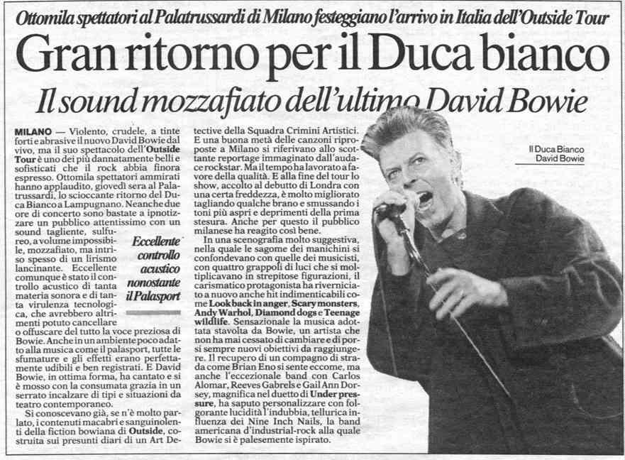 Bowie Outside Tour Milano 8 Febbraio 1996 Articolo