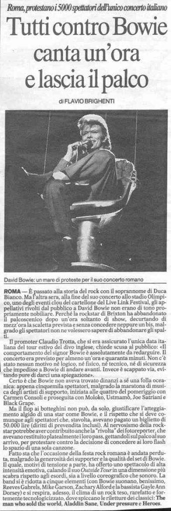 Bowie Outside Tour Roma 9 Luglio 1996 articolo