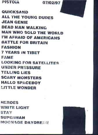 Earthling Tour Pistoia 2 luglio 1997 scaletta originale