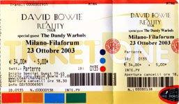 David Bowie Reality Tour Milano 23 Ottobre 2003 Biglietto 3