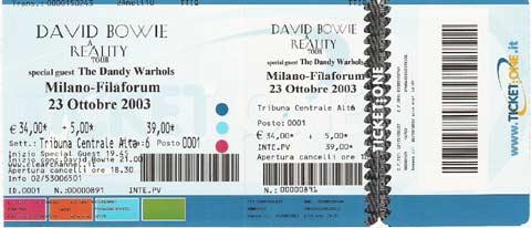 David Bowie Reality Tour Milano 23 Ottobre 2003 Biglietto 1