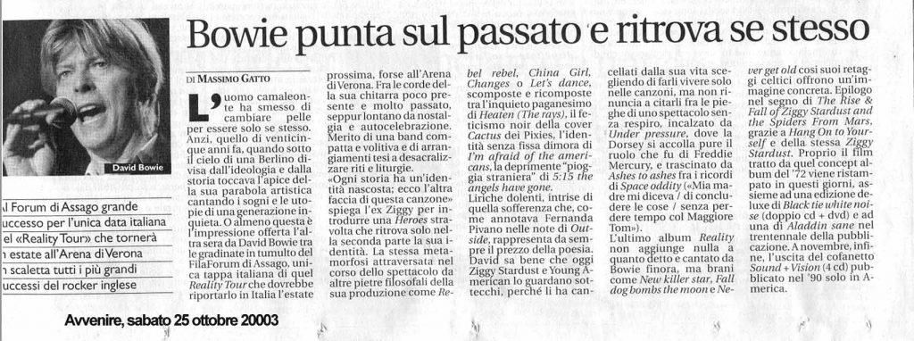 David Bowie Reality Tour Milano 23 Ottobre 2003 Articolo 3 avvenire