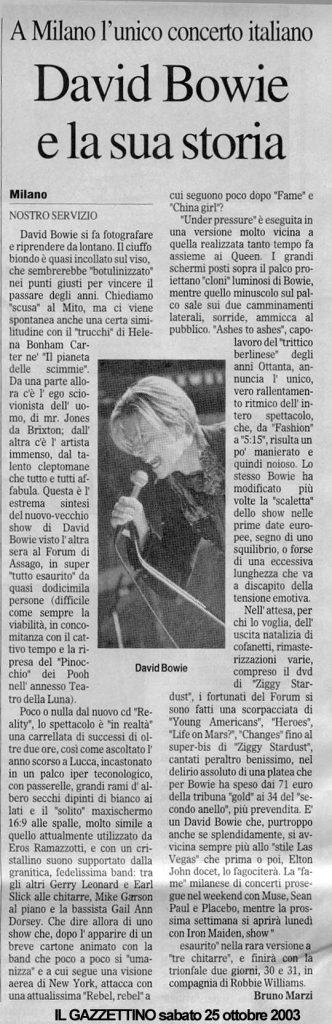 David Bowie Reality Tour Milano 23 Ottobre 2003 Articolo 1
