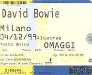 David Bowie hours tour alcatraz milano 4 dicembre 1999