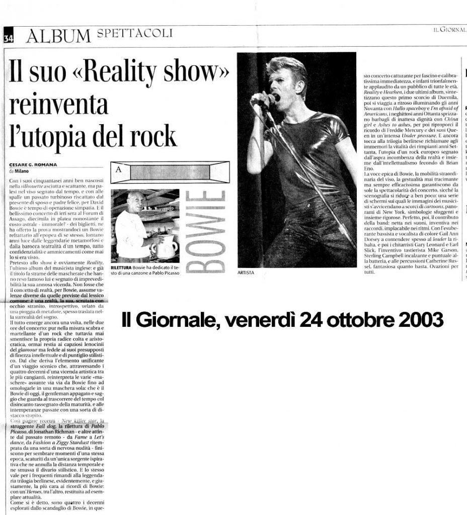 David Bowie Reality Tour Milano 23 Ottobre 2003 Articolo 6 Il Giornale