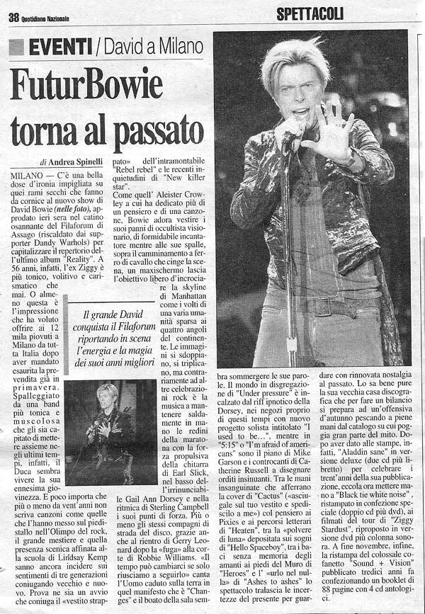 David Bowie Reality Tour Milano 23 Ottobre 2003 Articolo 5 Il Giorno