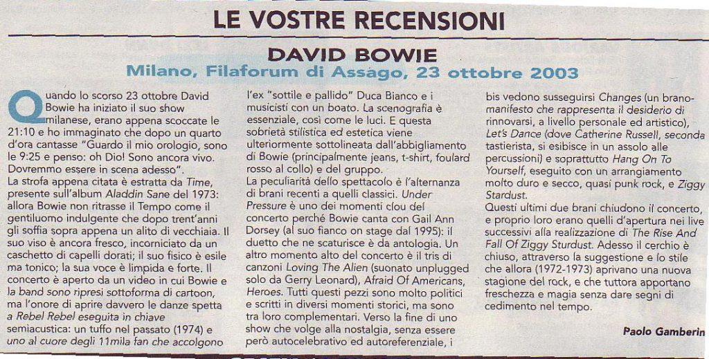 Reality Tour, Milano 23 Ottobre 2003 1