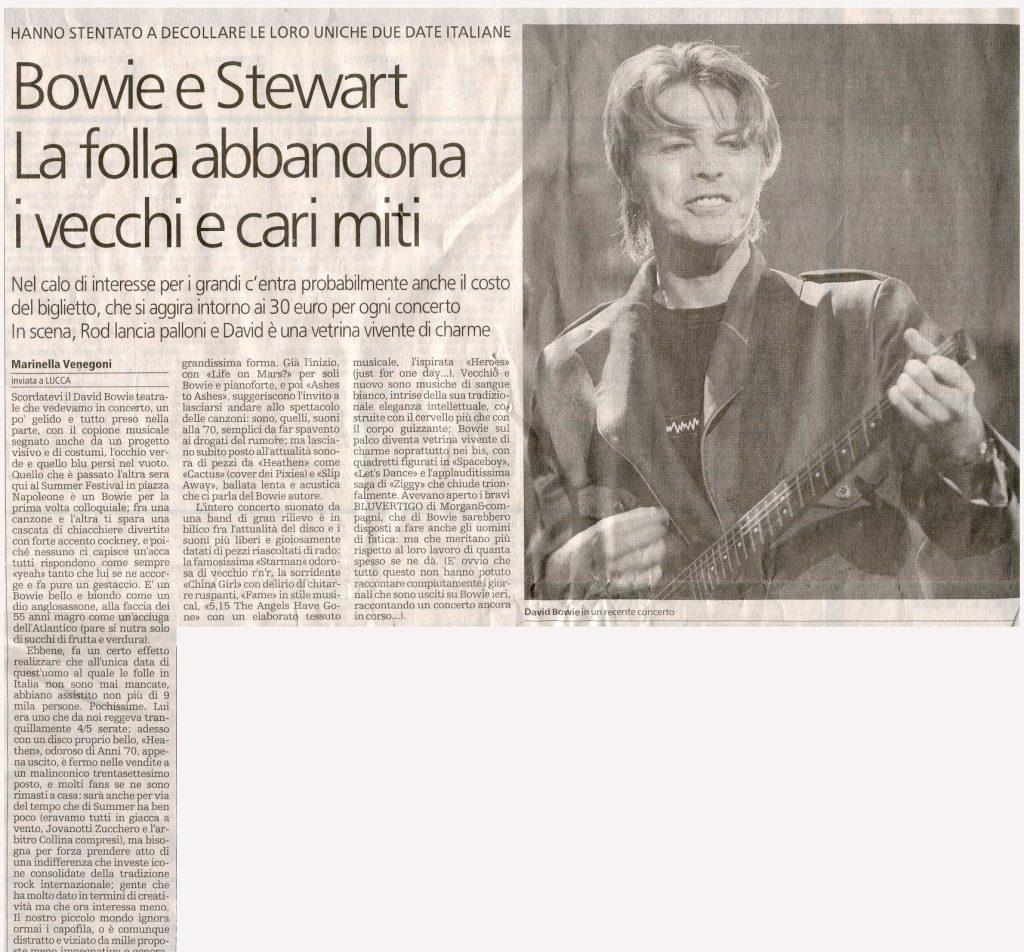 David Bowie Heathen Tour Lucca 15 Luglio 2002 articolo stampa