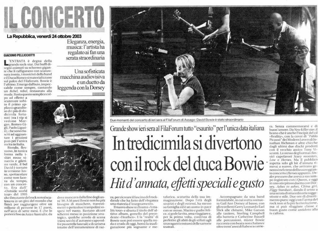 David Bowie Reality Tour Milano 23 Ottobre 2003 Articolo 1 repubblica