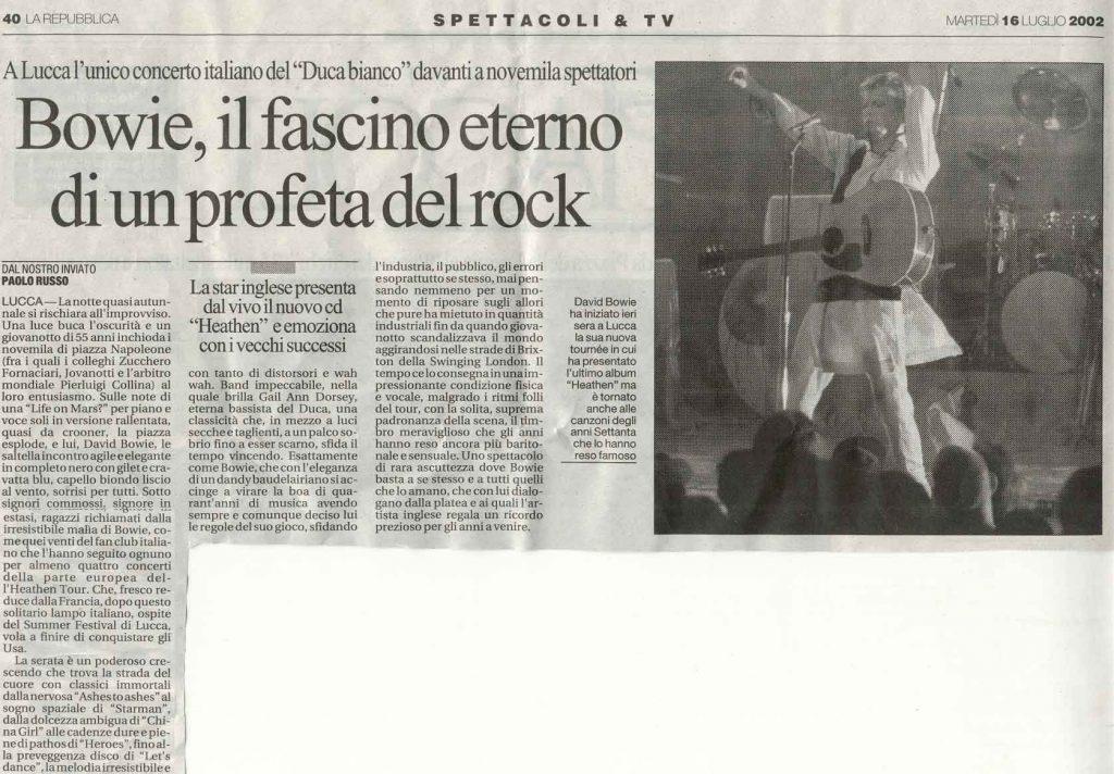David Bowie Heathen Tour Lucca 15 Luglio 2002 articolo repubblica
