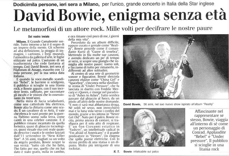 David Bowie Reality Tour Milano 23 Ottobre 2003 Articolo 4 Secolo XIX