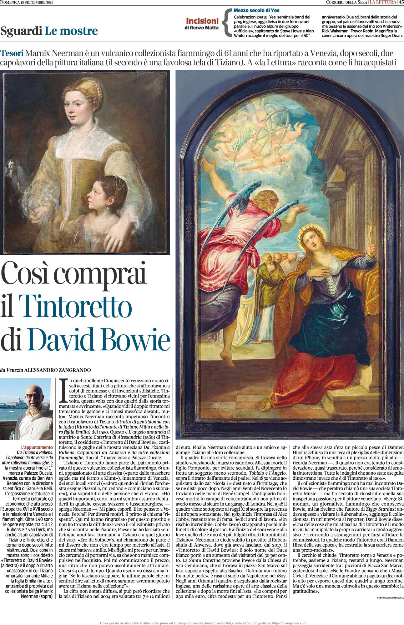 Bowie Tintoretto 2019 corriere