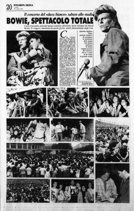Bowie-Glass-Spider-Torino-18-Luglio-1987-articolo-Stampa-Sera-20-Luglio
