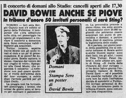 Bowie Glass Spider Torino 18 luglio 1987 articolo La Stampa 18 Luglio 1987