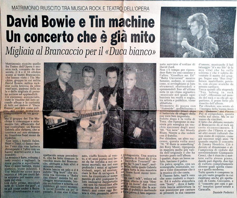 Tin-Machine-Roma-Brancaccio-Ottobre-1990-articolo-Giornale-di-italia
