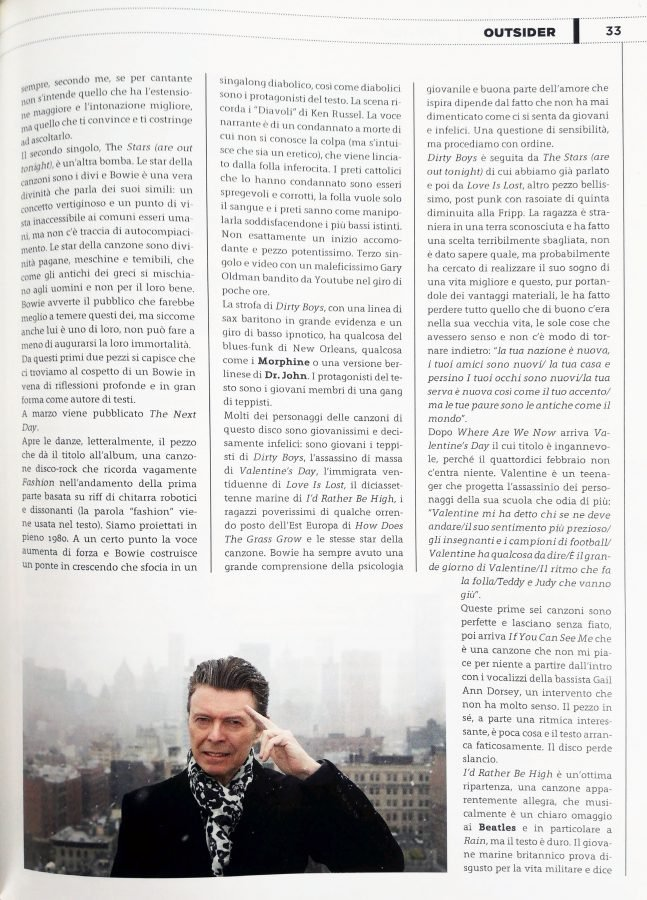 pagina 2 Outsider recensione The Next Day David Bowie stampa