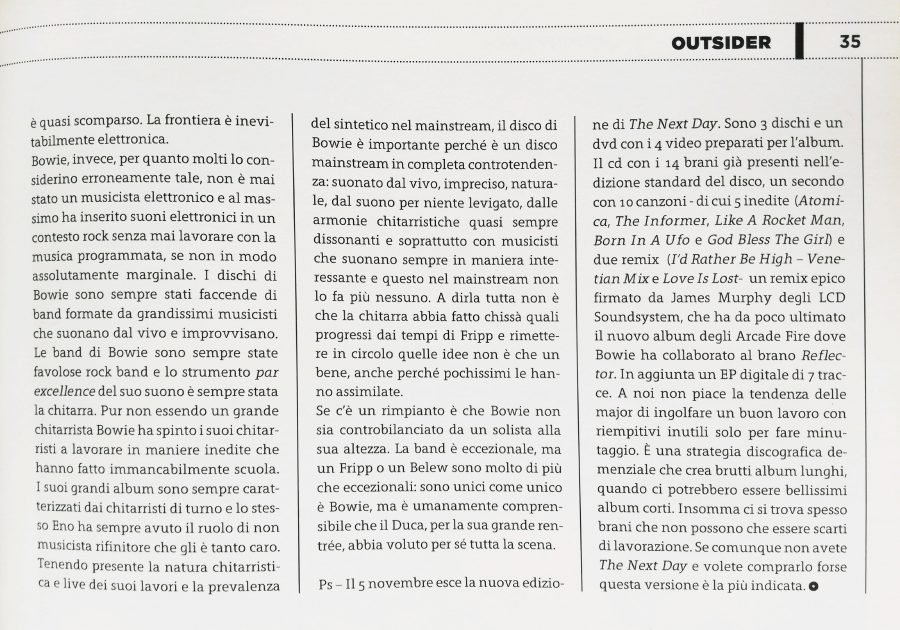 pagina 4 Outsider recensione The Next Day David Bowie stampa