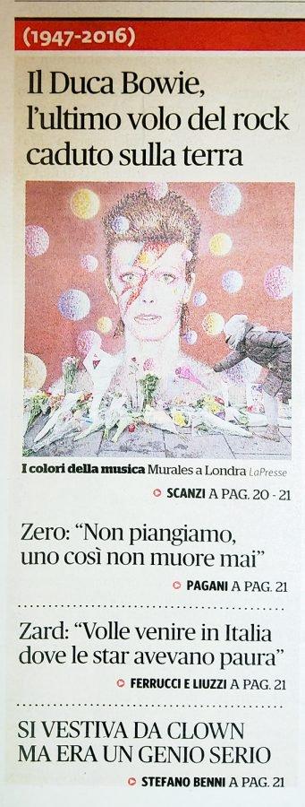 Prima pagina Fatto Quotidiano Scanzi morte David Bowie